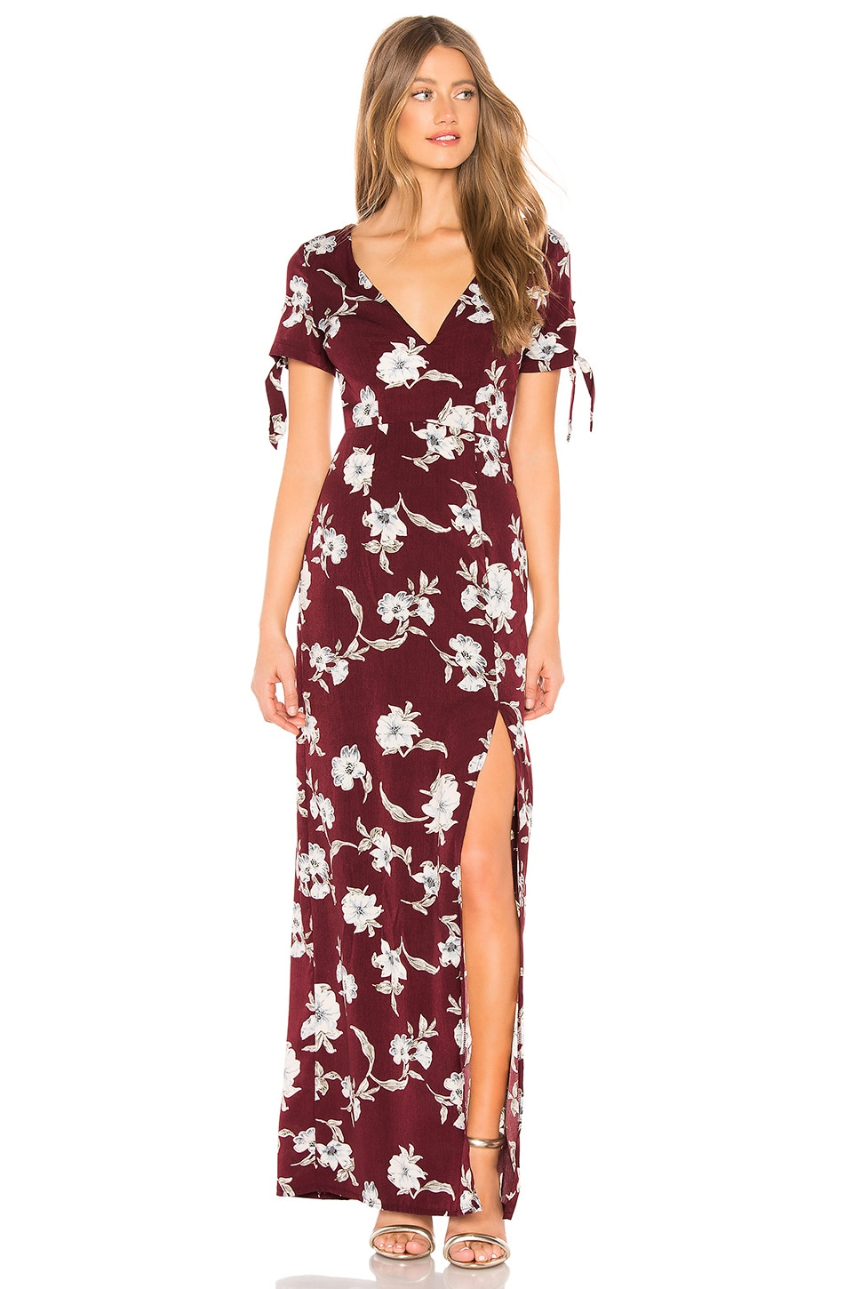 About Us Aubrey Maxi Dress in Wine Red Floral