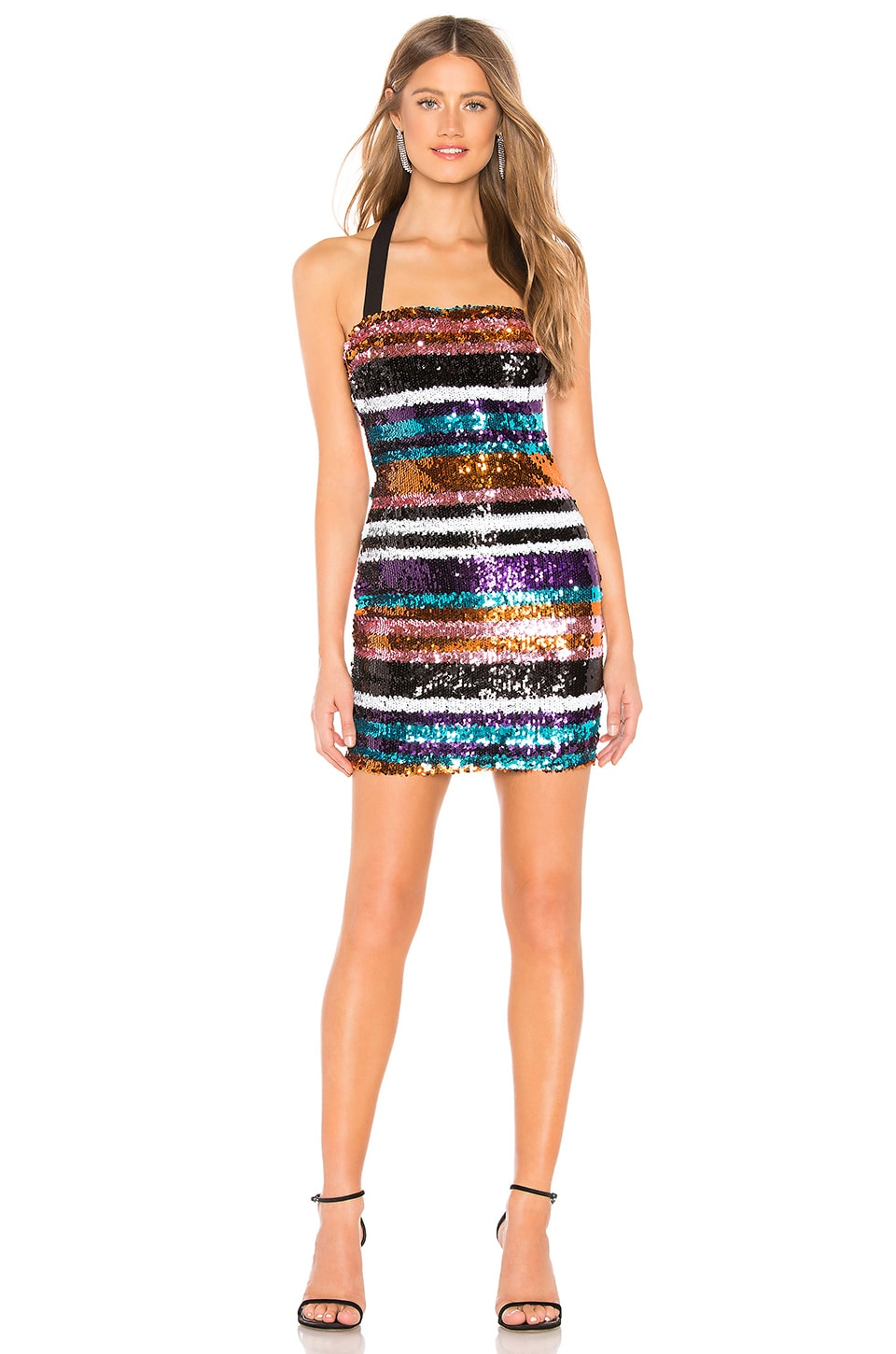 About Us Zoey Dress in Multi Stripe