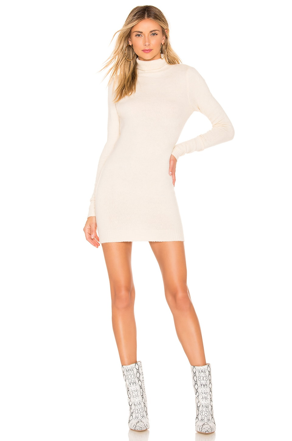 superdown Nadia Turtle Neck Dress in Beige