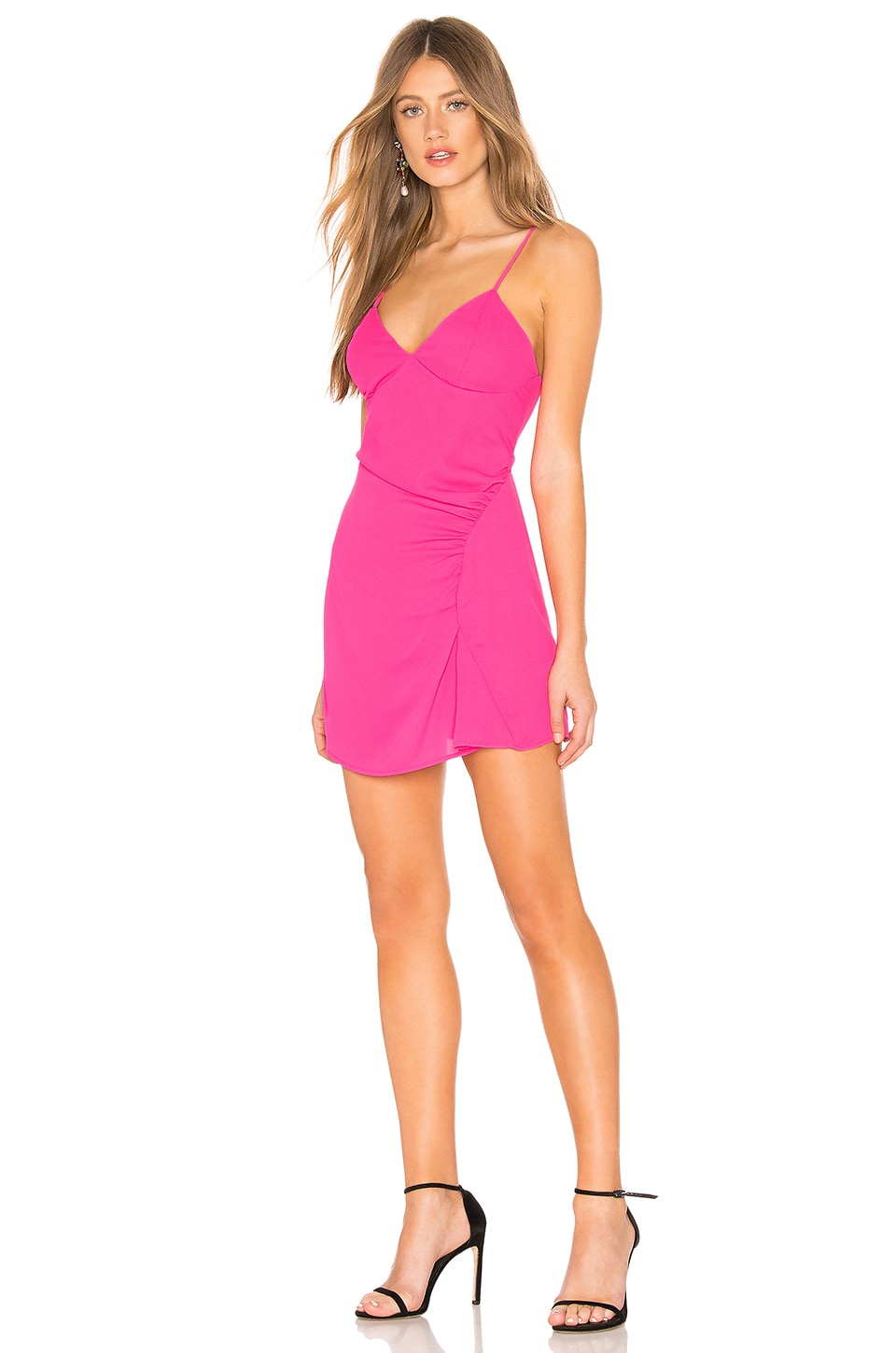 About Us Leilani Ruched Mini Dress in Fuchsia Pink