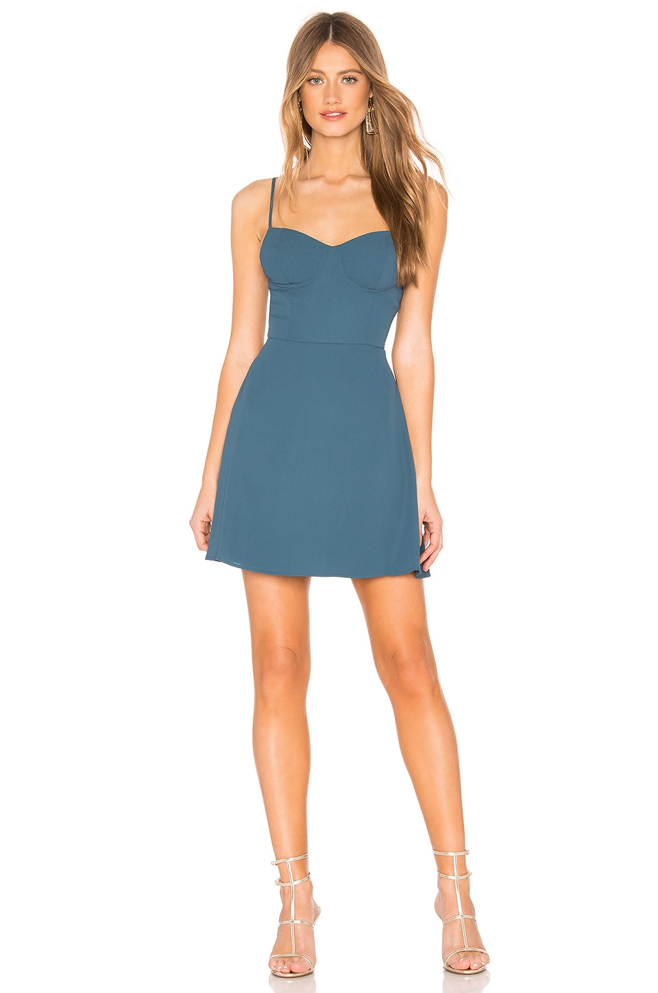 About Us Lyla Bustier Mini Dress in Teal Blue