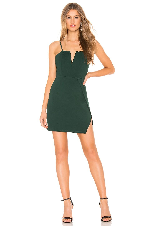 About Us Josie Wrap Mini Dress in Forrest Green