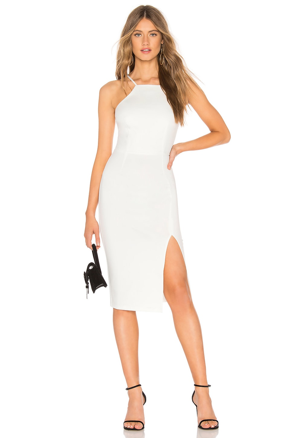 About Us Charity Slit Midi Dress in White
