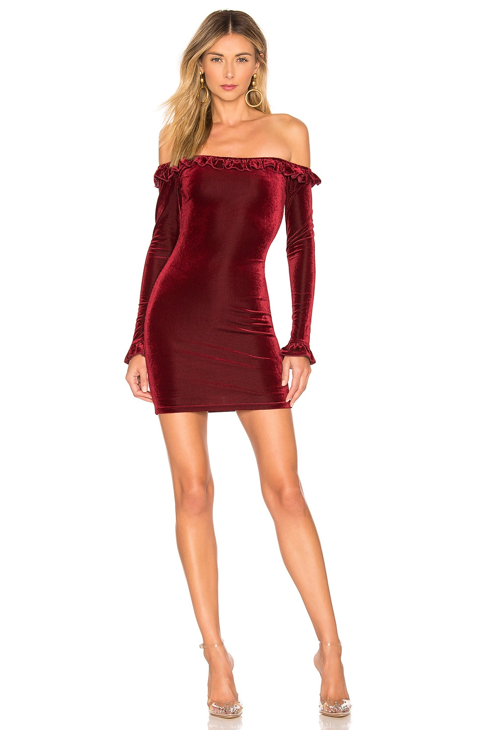 About Us Danielle Off Shoulder Dress in Wine