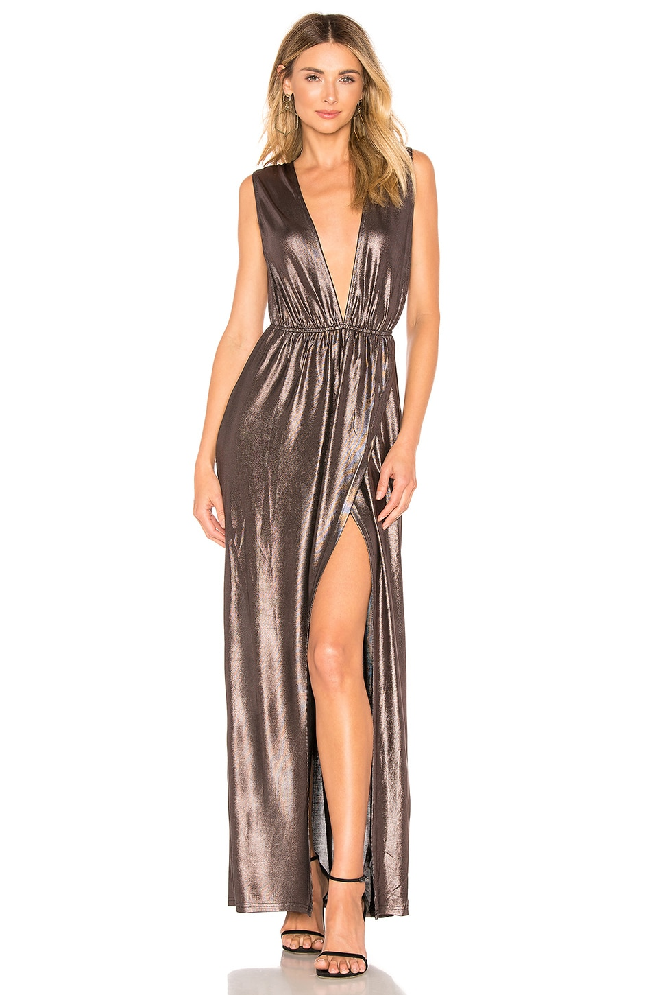About Us Meredith Plunge Maxi Dress in Metallic Plum