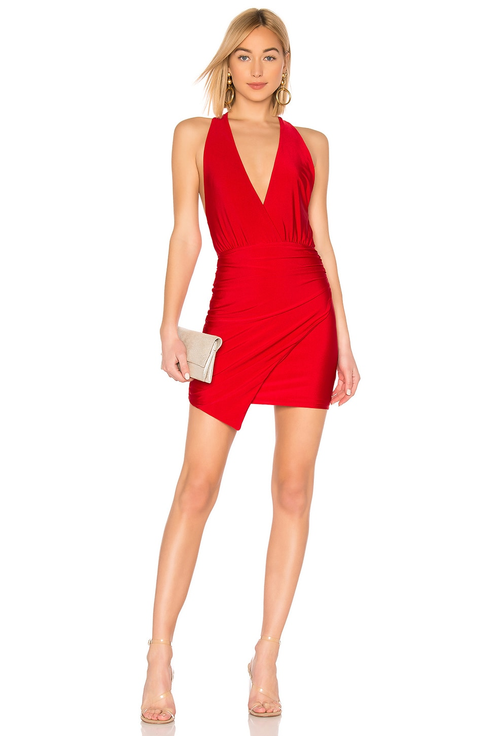 About Us Alicya Drape Dress in Red
