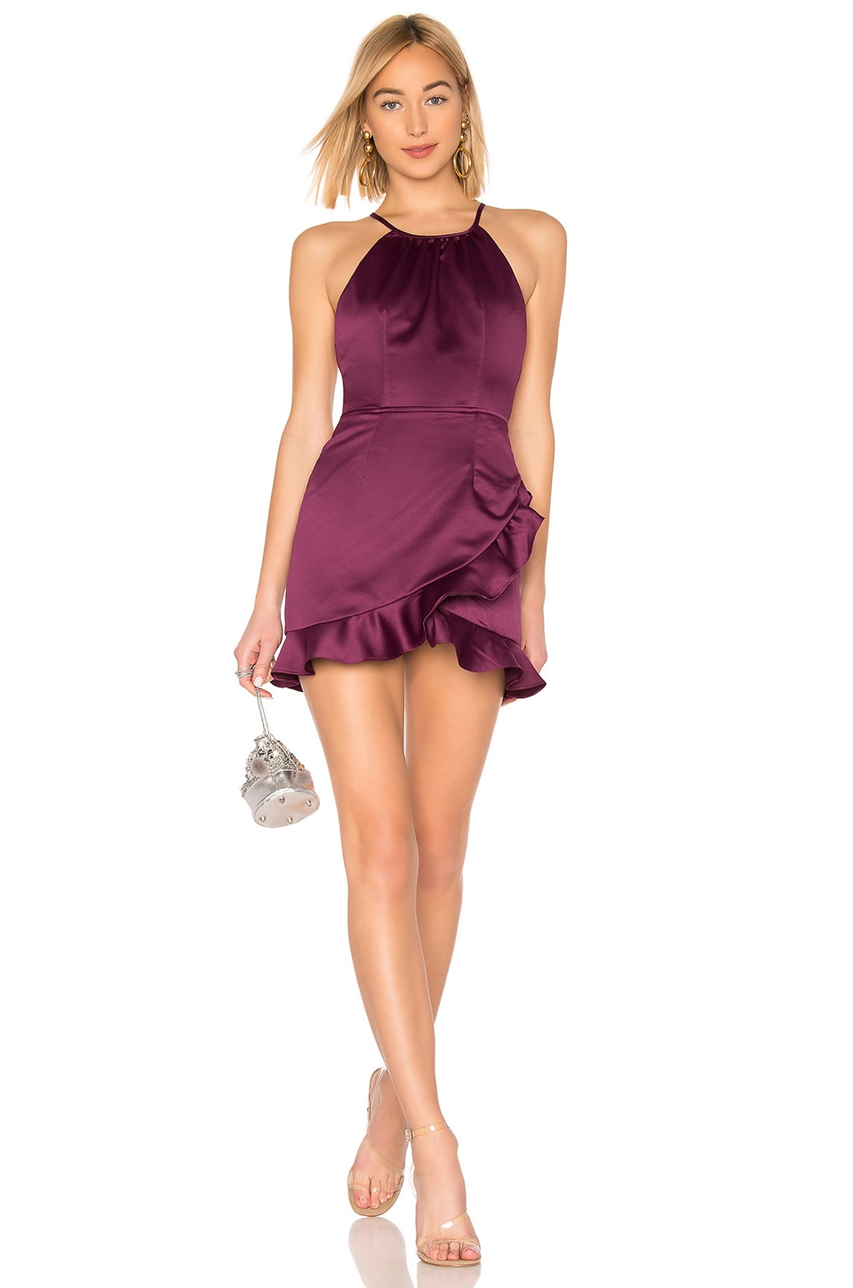 About Us Ciara Ruffle Dress in Plum