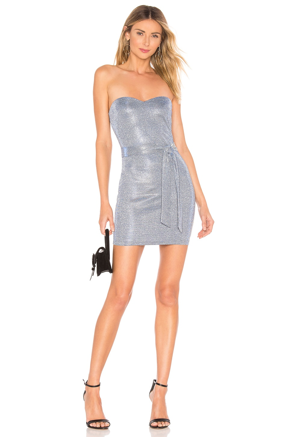 About Us Cynthia Strapless Dress in Silver