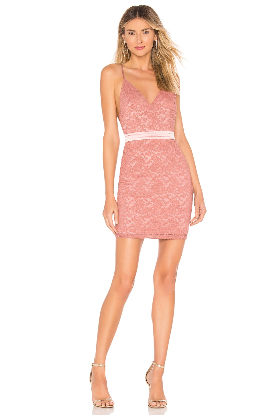 About Us Elona Lace Mini Dress in Rose Pink