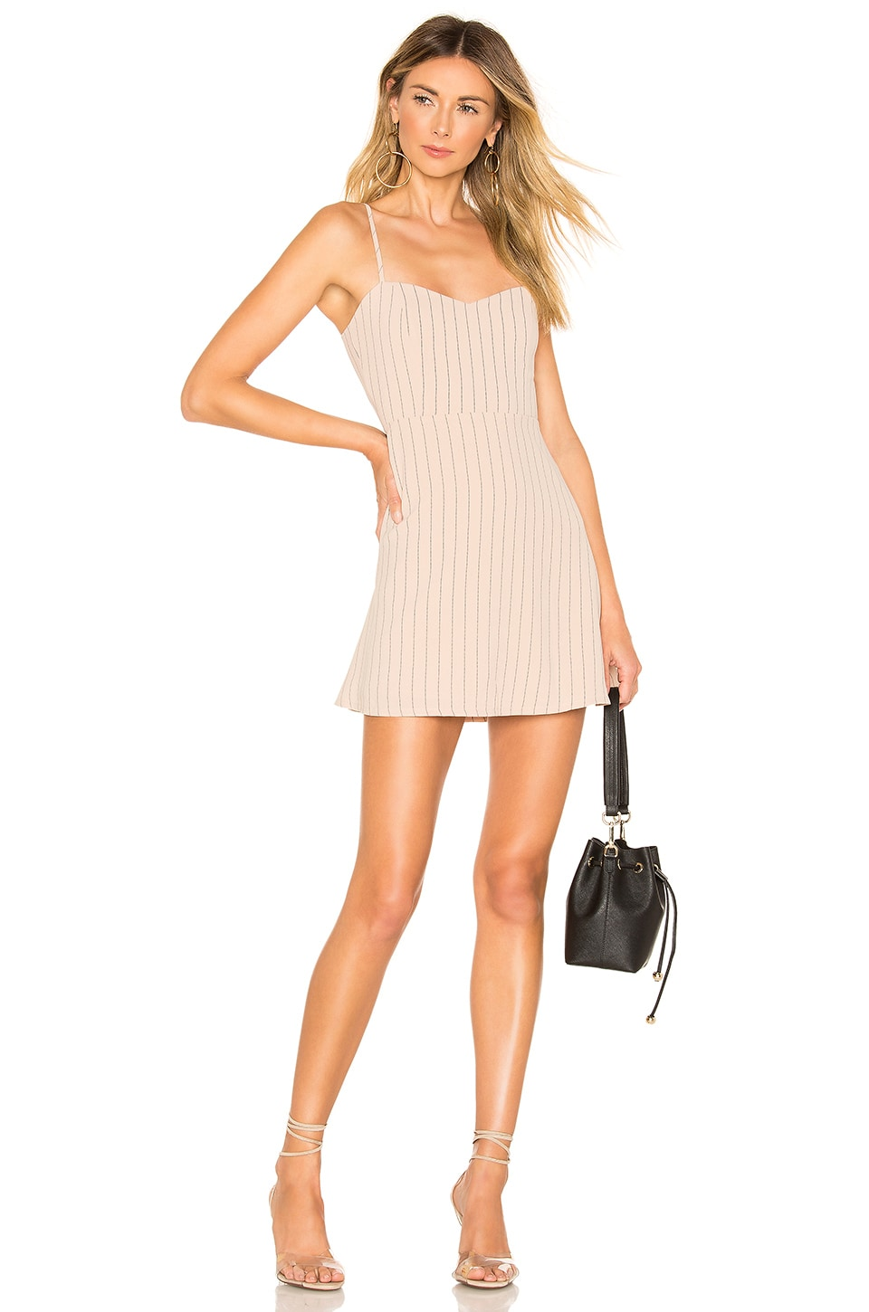 About Us Violet Sweetheart Mini Dress Stripe in Nude