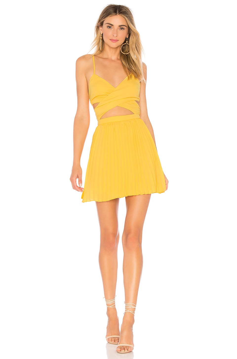 superdown Sharon Pleated Chiffon Dress in Yellow
