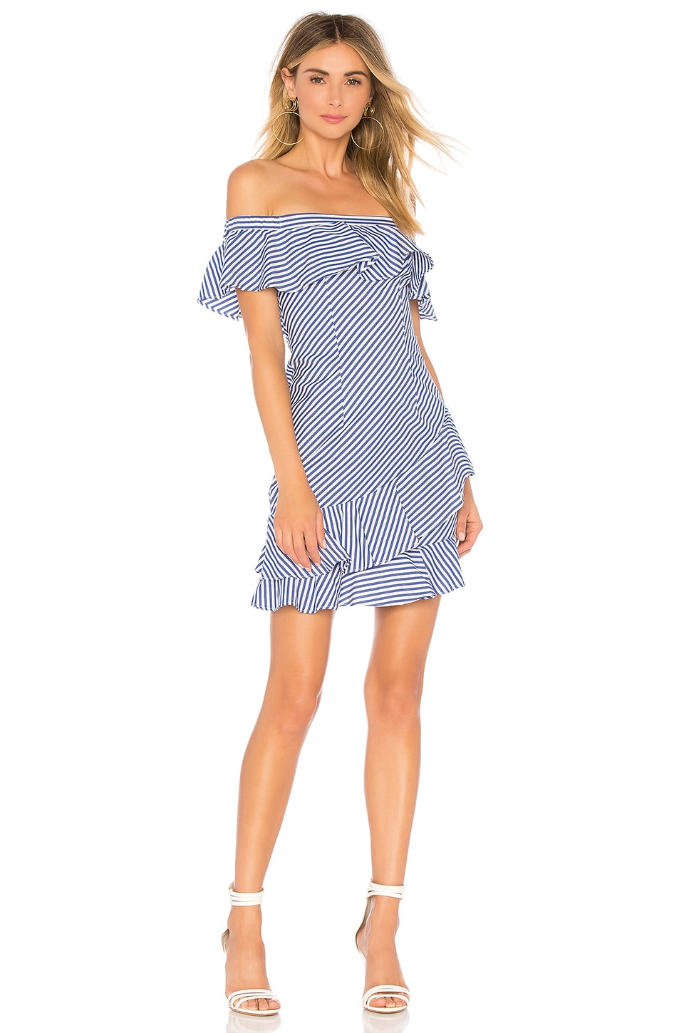 About Us Rosa Striped Off Shoulder Dress in Blue & White Stripes