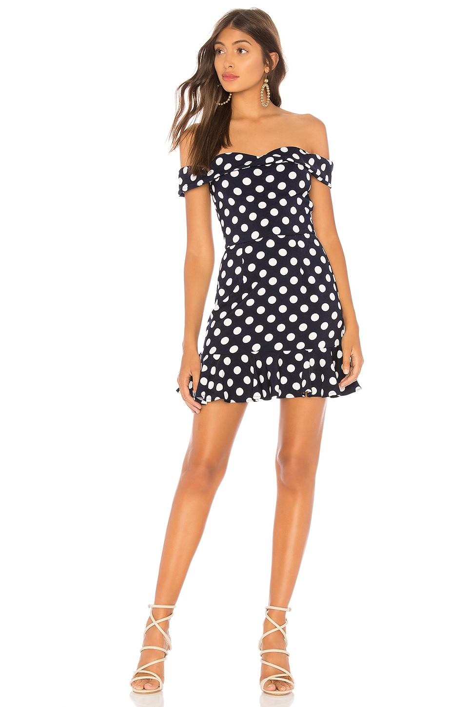 About Us Sammy Off Shoulder Ruffle Dress in Navy Polka Dot
