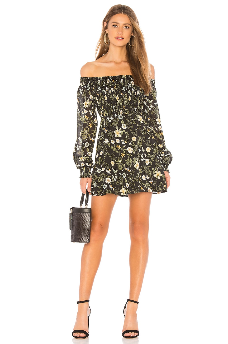 About Us Cyone Smocked Dress in Black Floral