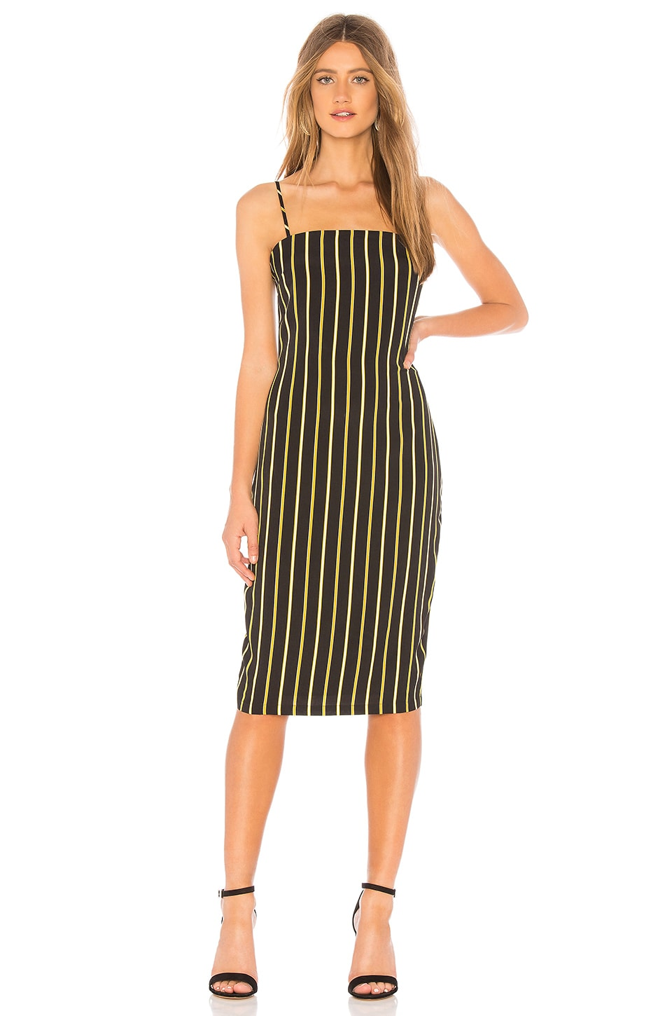 About Us Yolanda Midi Dress in Black & Gold