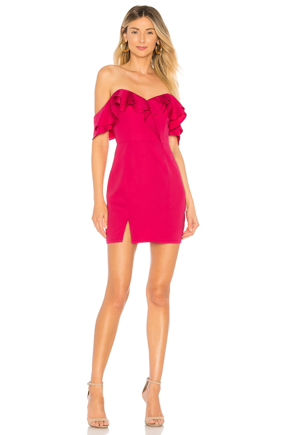 About Us Anette Ruffle Mini Dress in Rose Pink