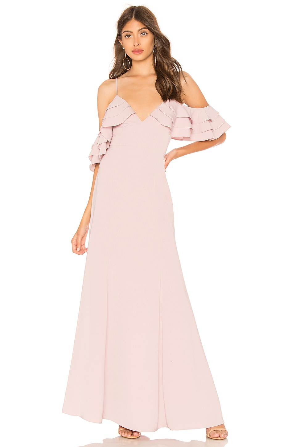 About Us Bell Ruffle Maxi Dress in Mauve