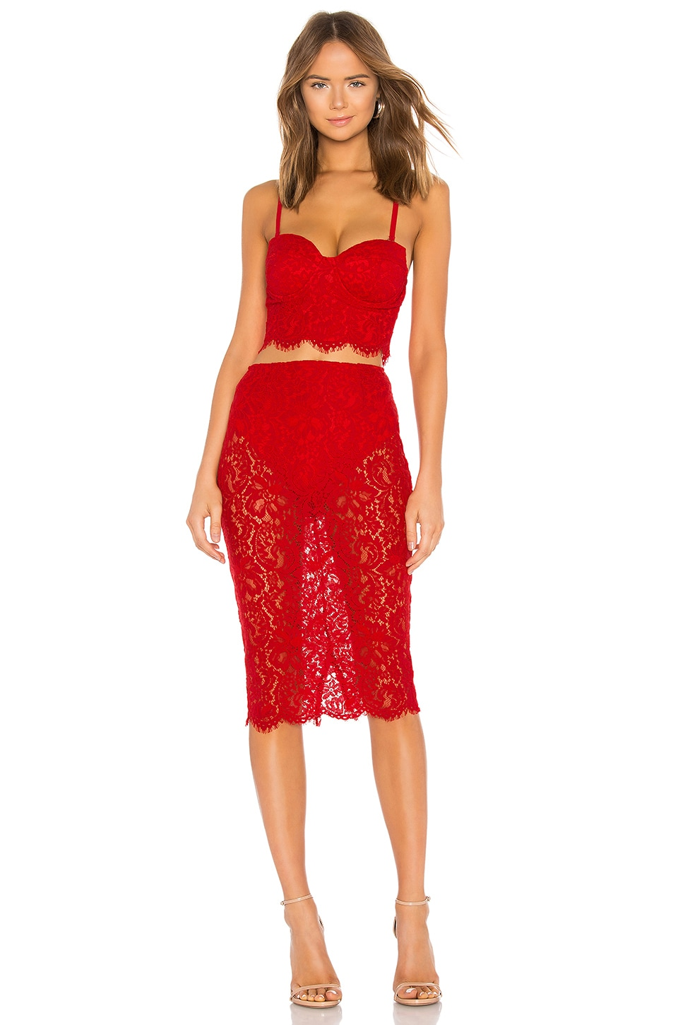 About Us Jojo Strapless Lace Set in Red
