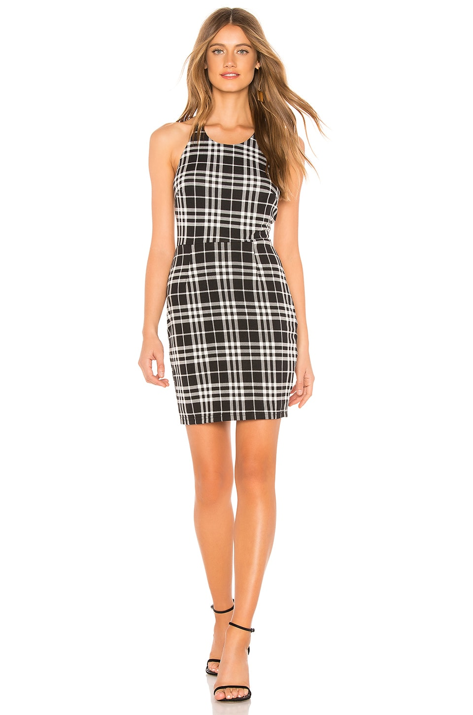 About Us Jackie Halter Neck Mini Dress in Black & White