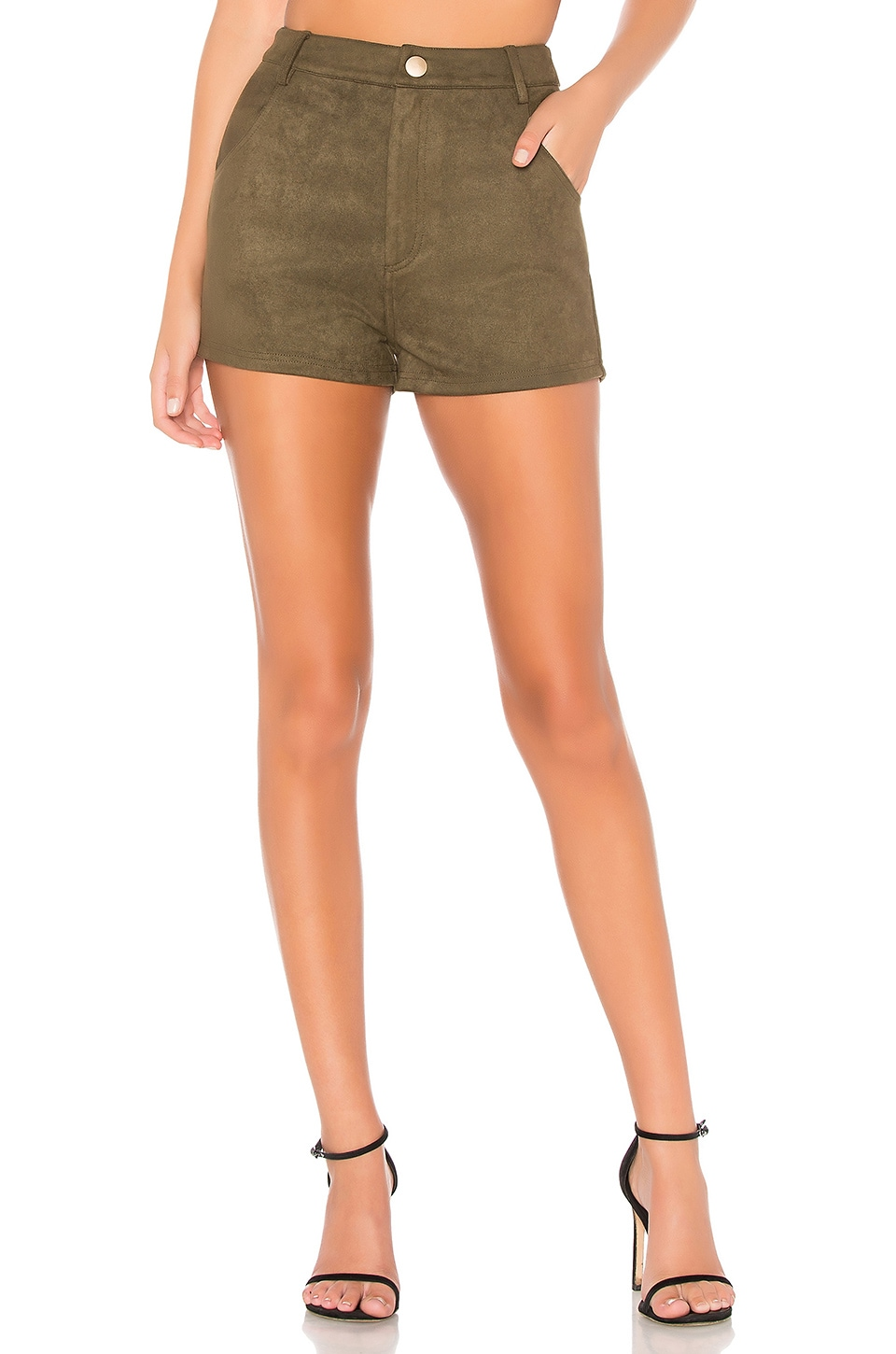 About Us Layla Faux Suede Shorts in Army Green