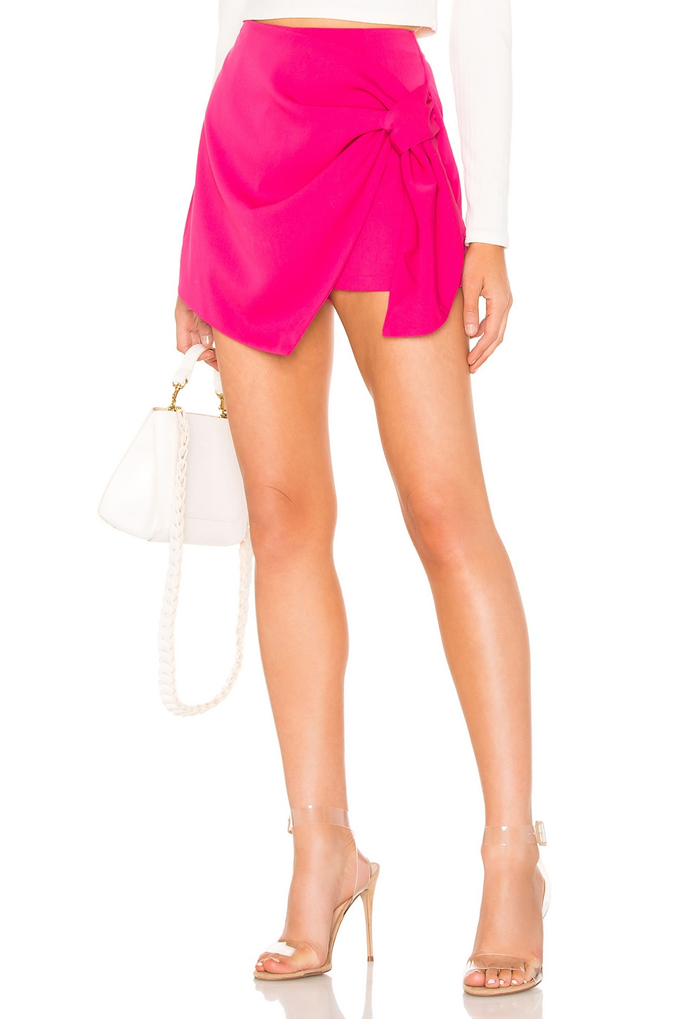 About Us Hillary Wrap Front Skort in Hot Pink