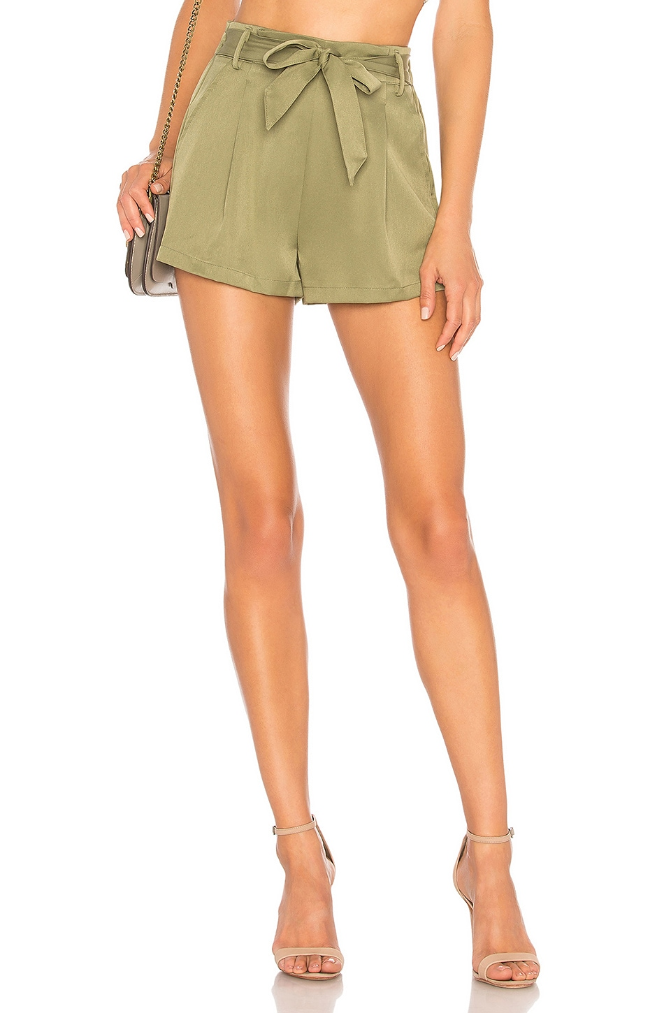 superdown Katerina Paperbag Shorts in Army Green
