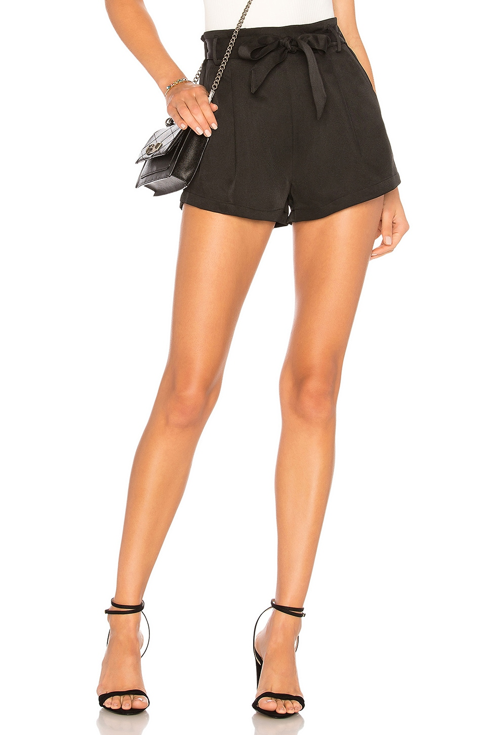 superdown Katerina Paperbag Shorts in Black