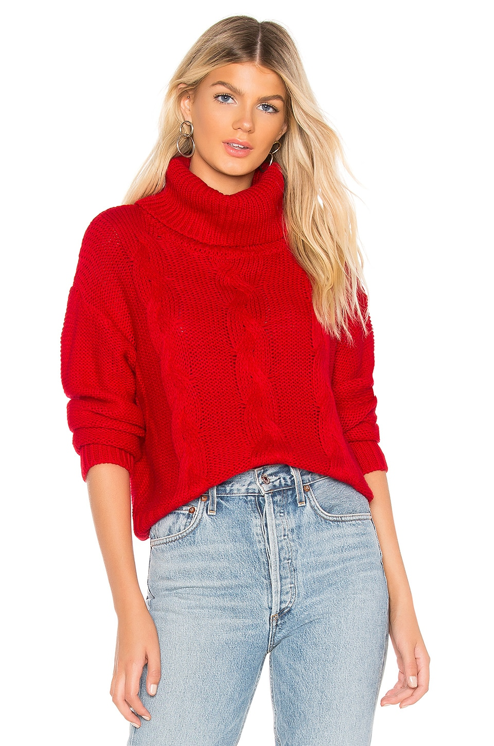 ABOUT US Jeanine Cable Knit Sweater, Red
