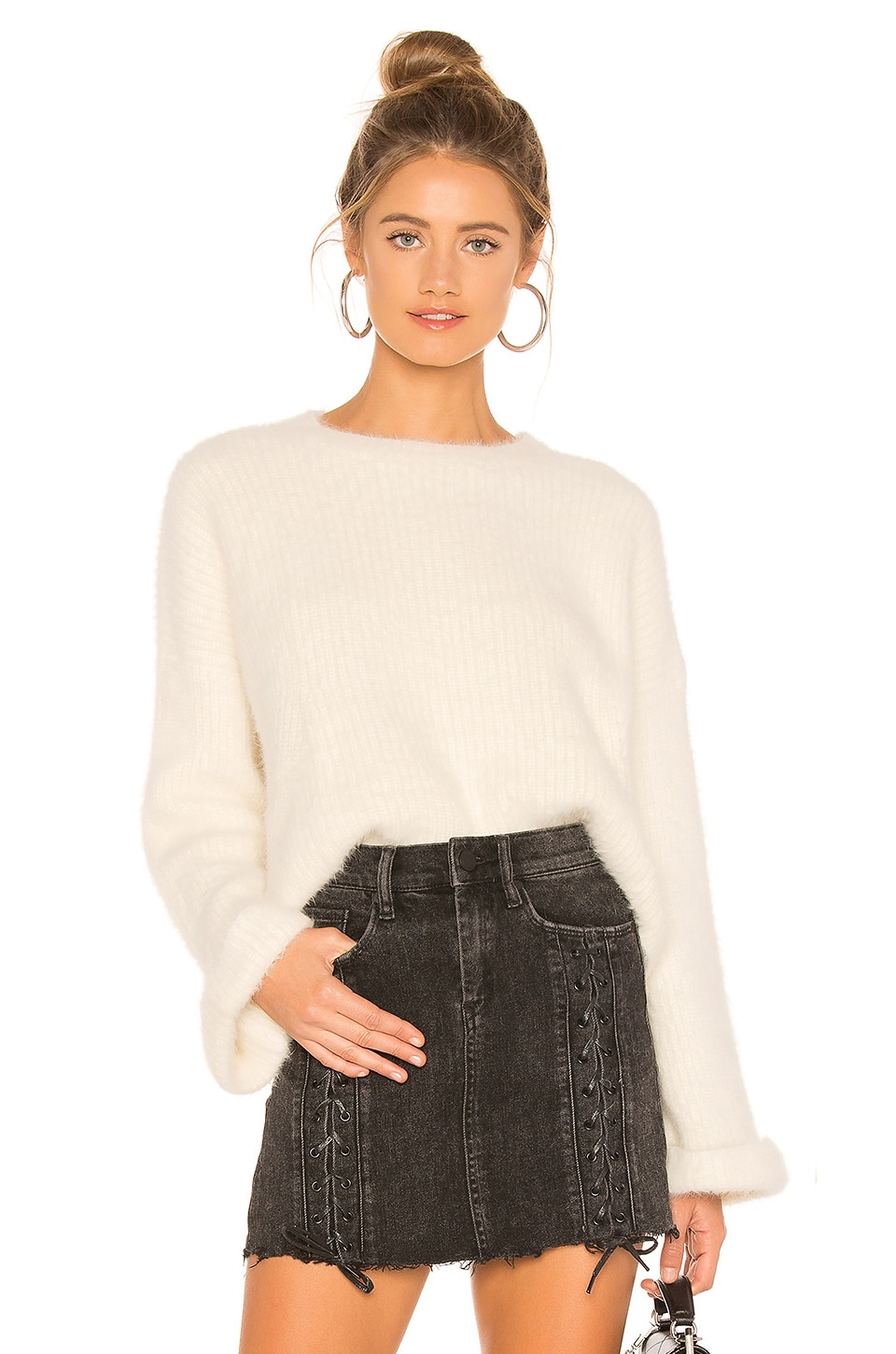 superdown Jessie Fuzzy Sweater in Cream