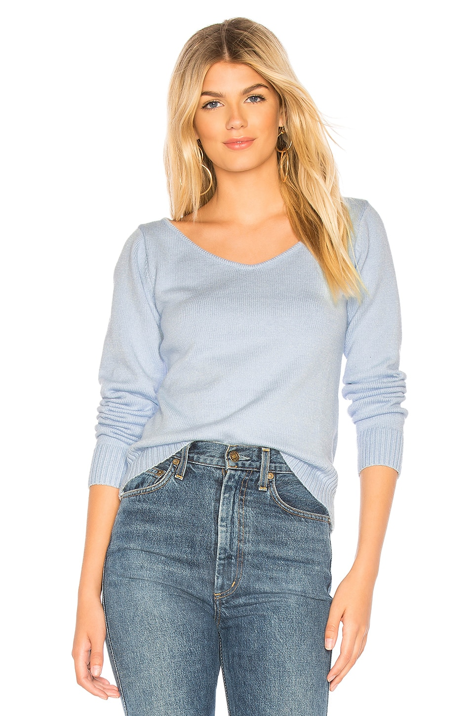 About Us Katie Asymmetrical Sweater in Light Blue