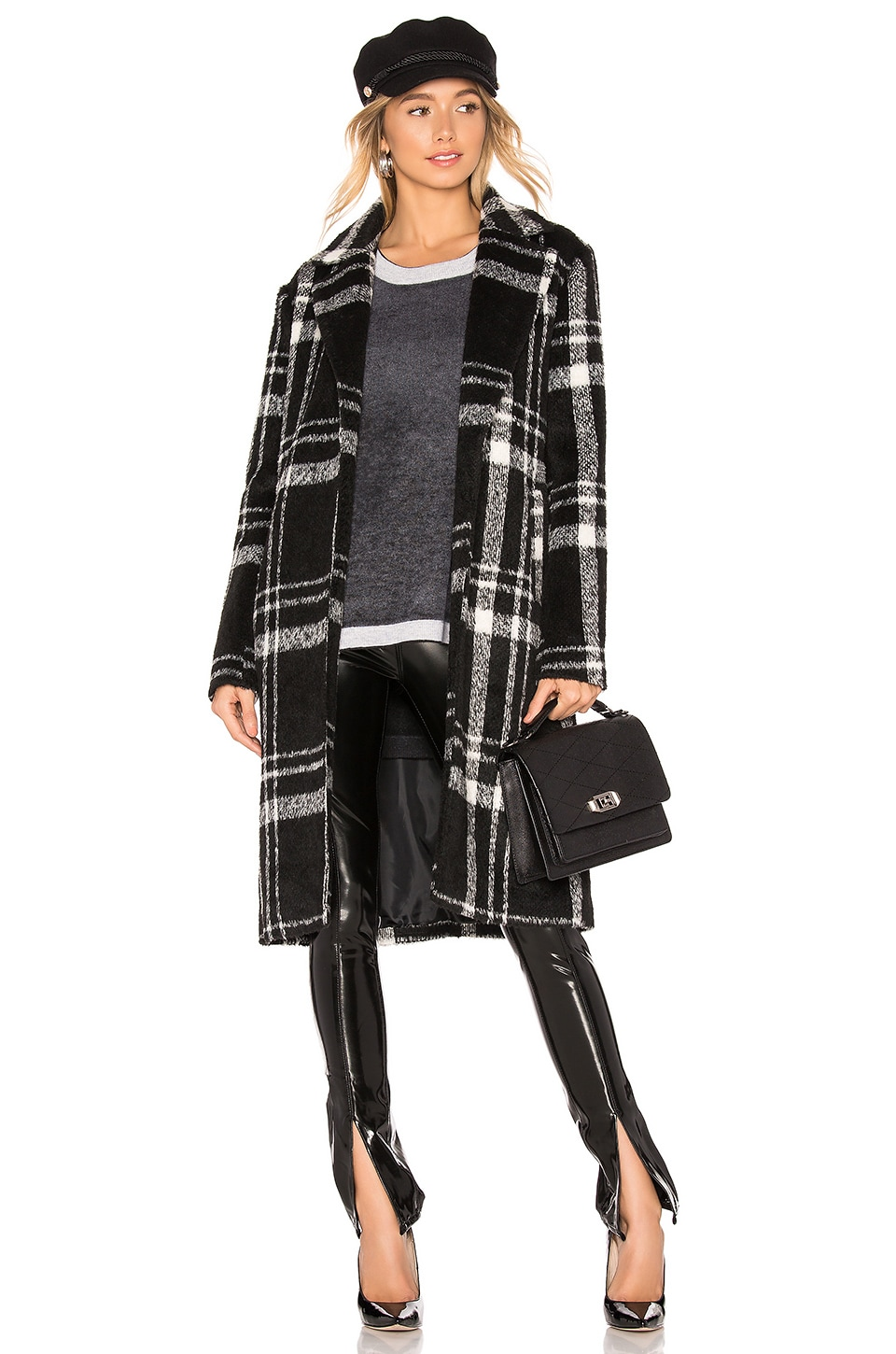 About Us Amanda Plaid Coat in Black & White