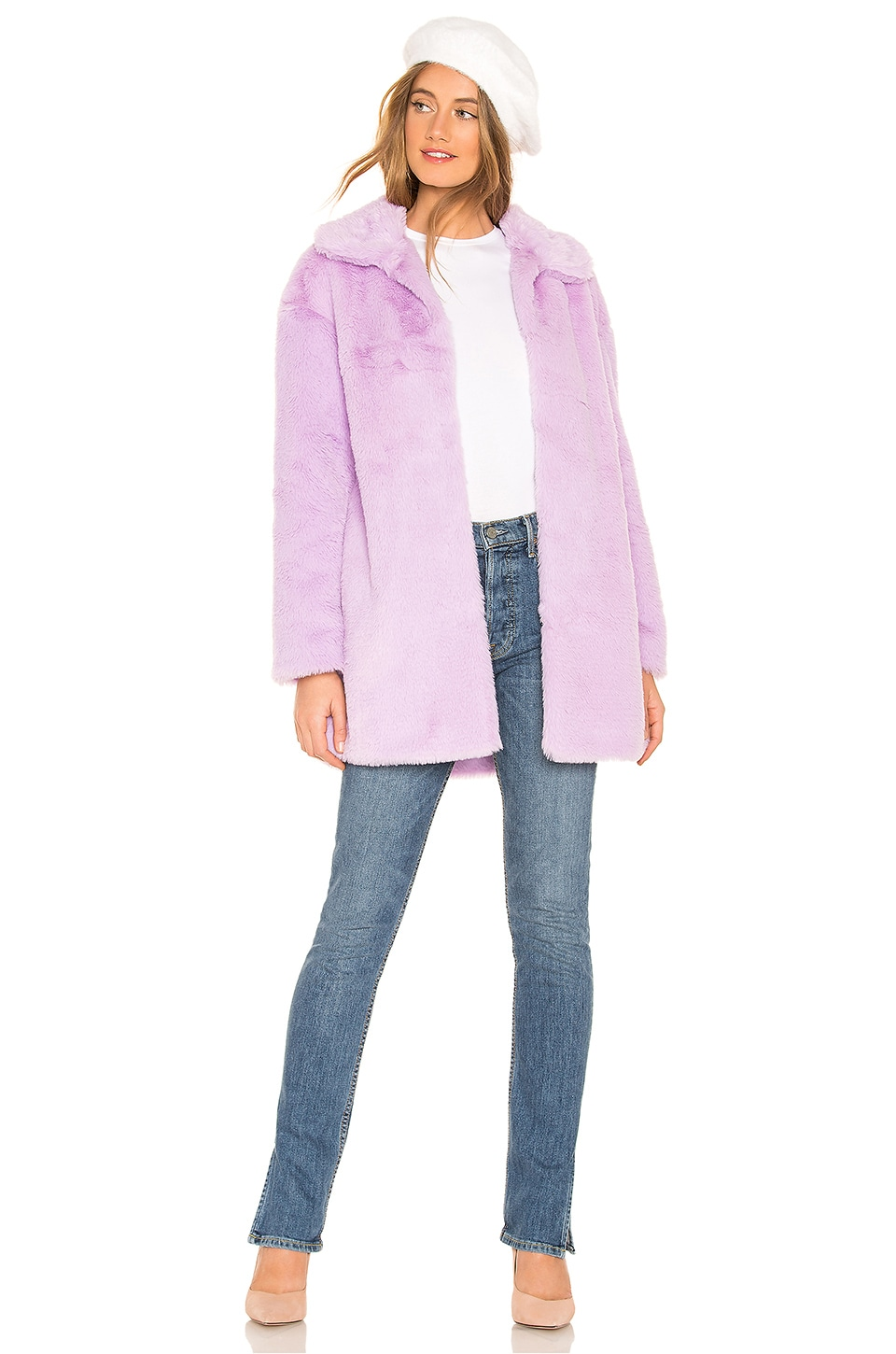 About Us Alie Faux Fur Coat in Purple