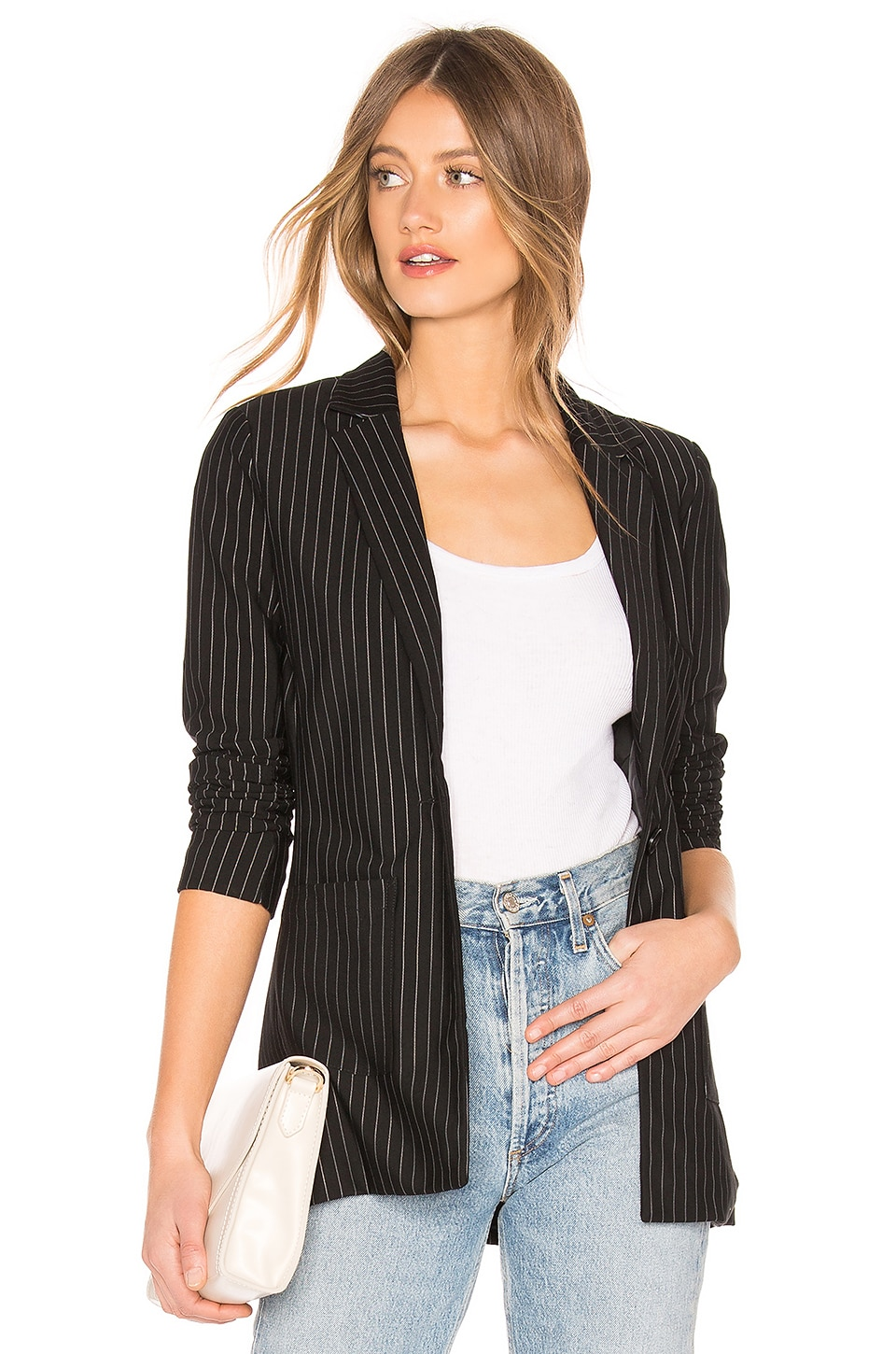 About Us Carissa Pinstripe Blazer in Black & White