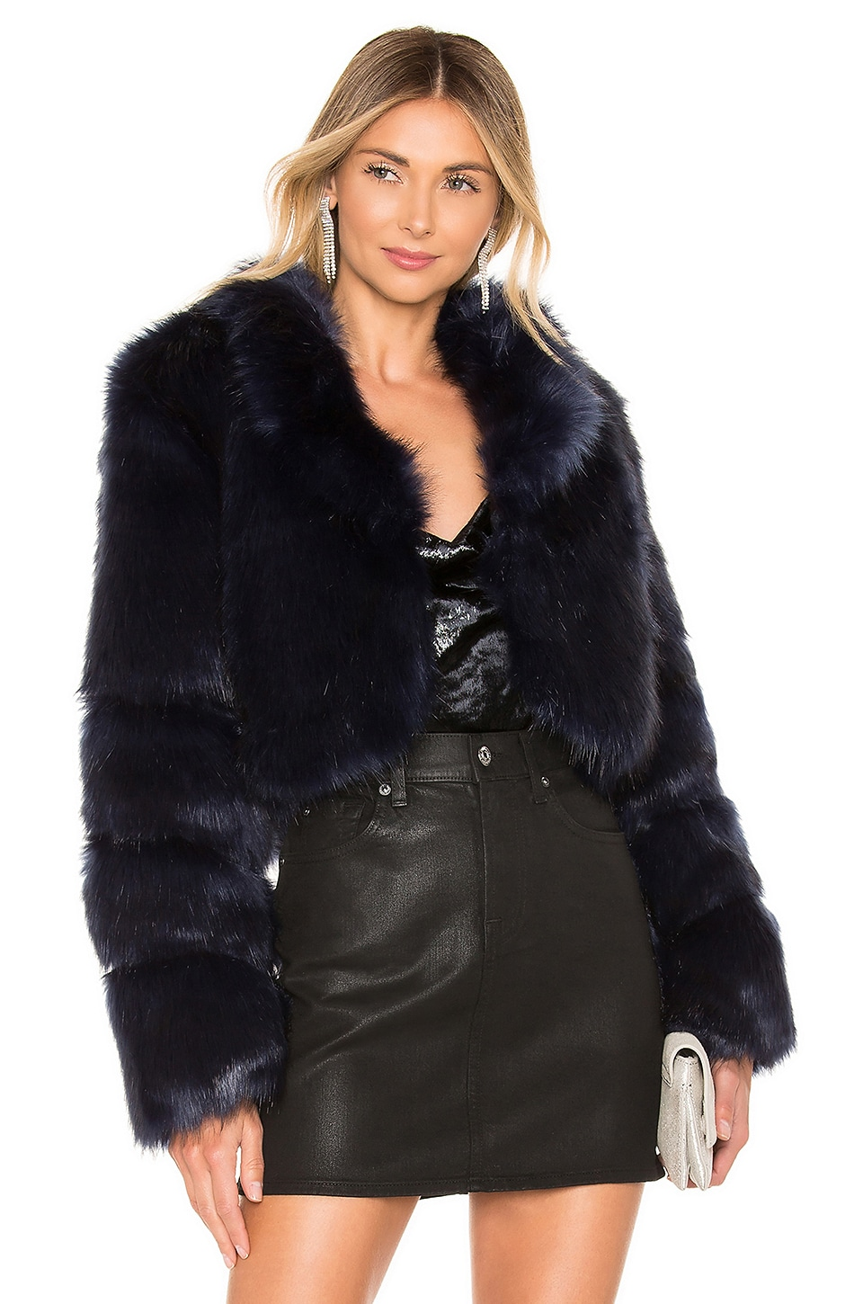 About Us Kaitlyn Faux Fur Jacket in Navy