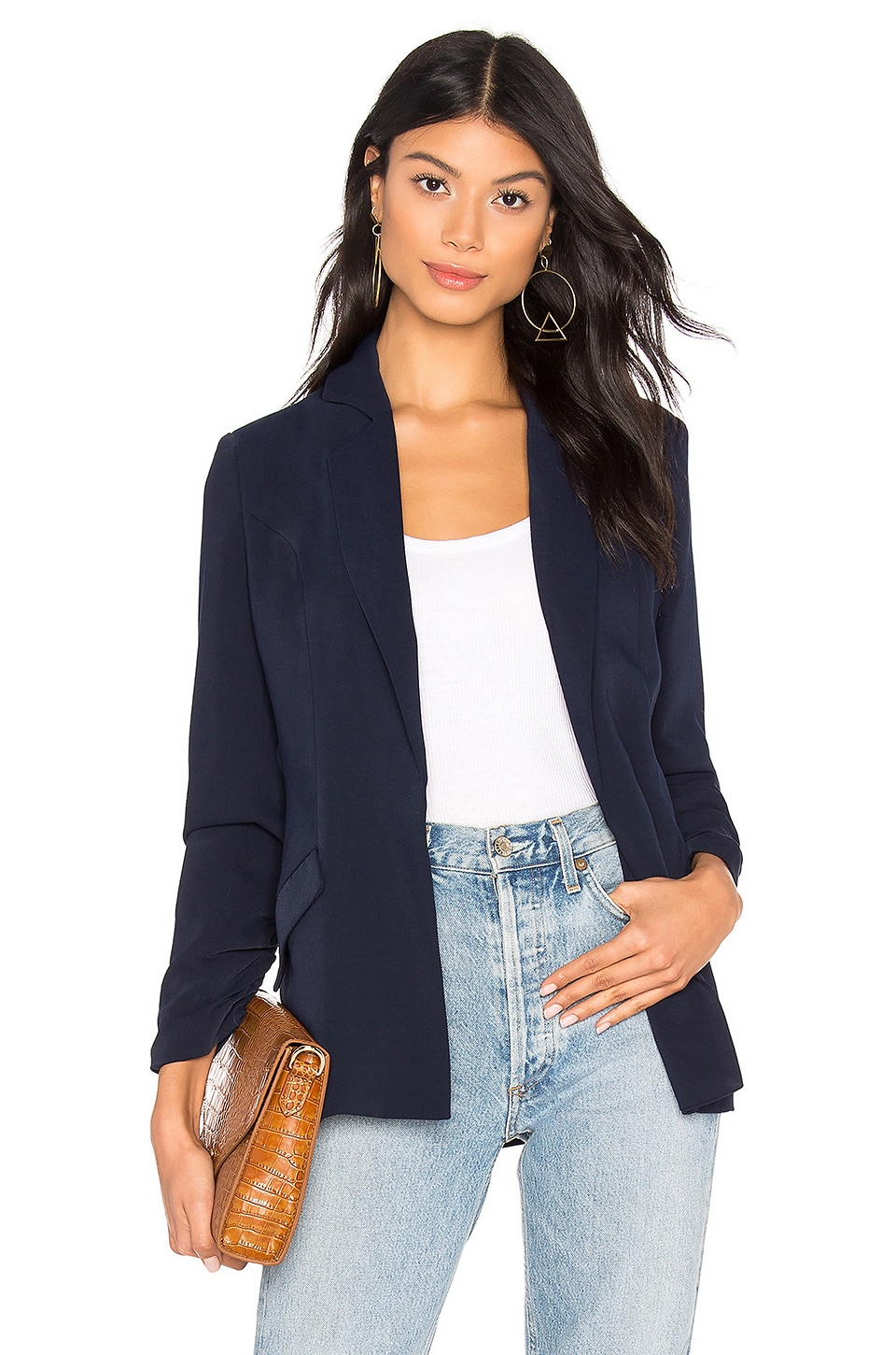 ABOUT US Kylie Ruched Sleeve Blazer in Navy