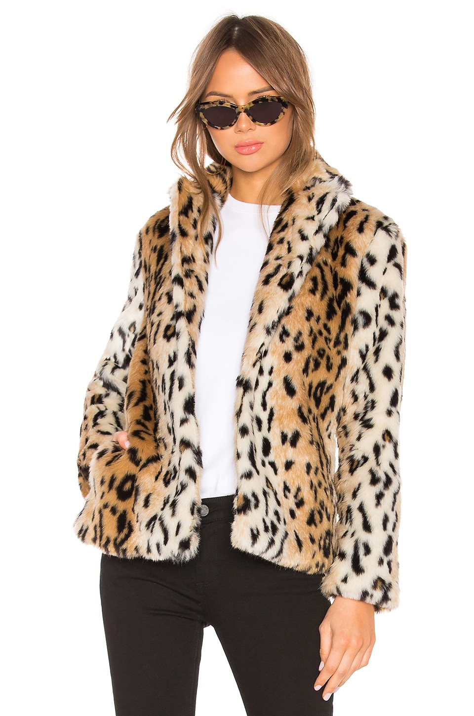 About Us Roxy Faux Fur Leopard Coat in Leopard