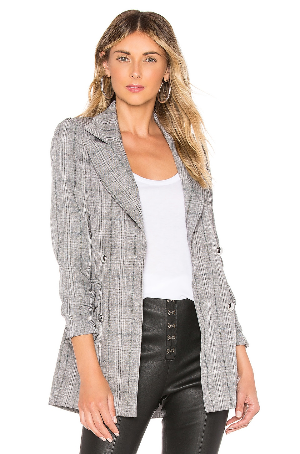 superdown Constance Blazer in Grey Plaid