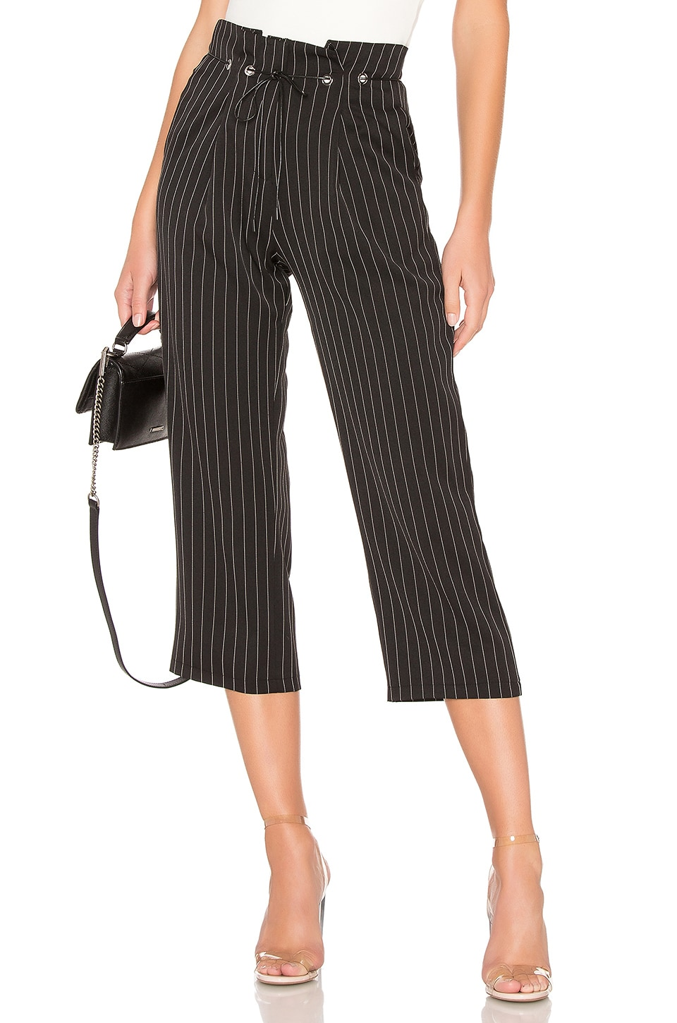 About Us Chloe Pleated Pant in Black Pinstripe