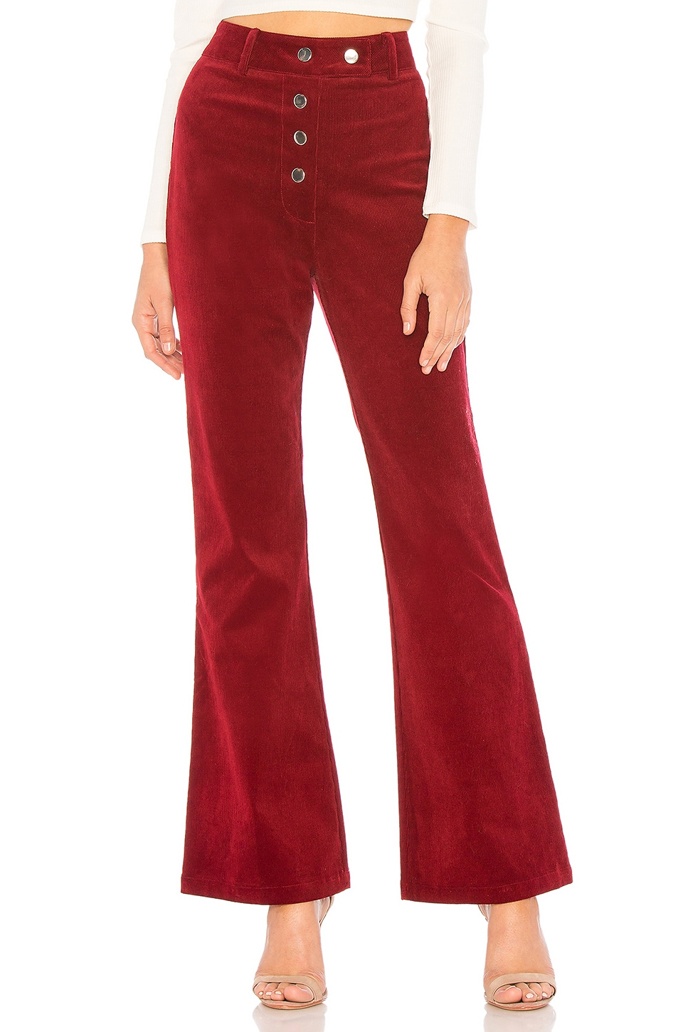About Us Liv High Waisted Pants in Burgundy