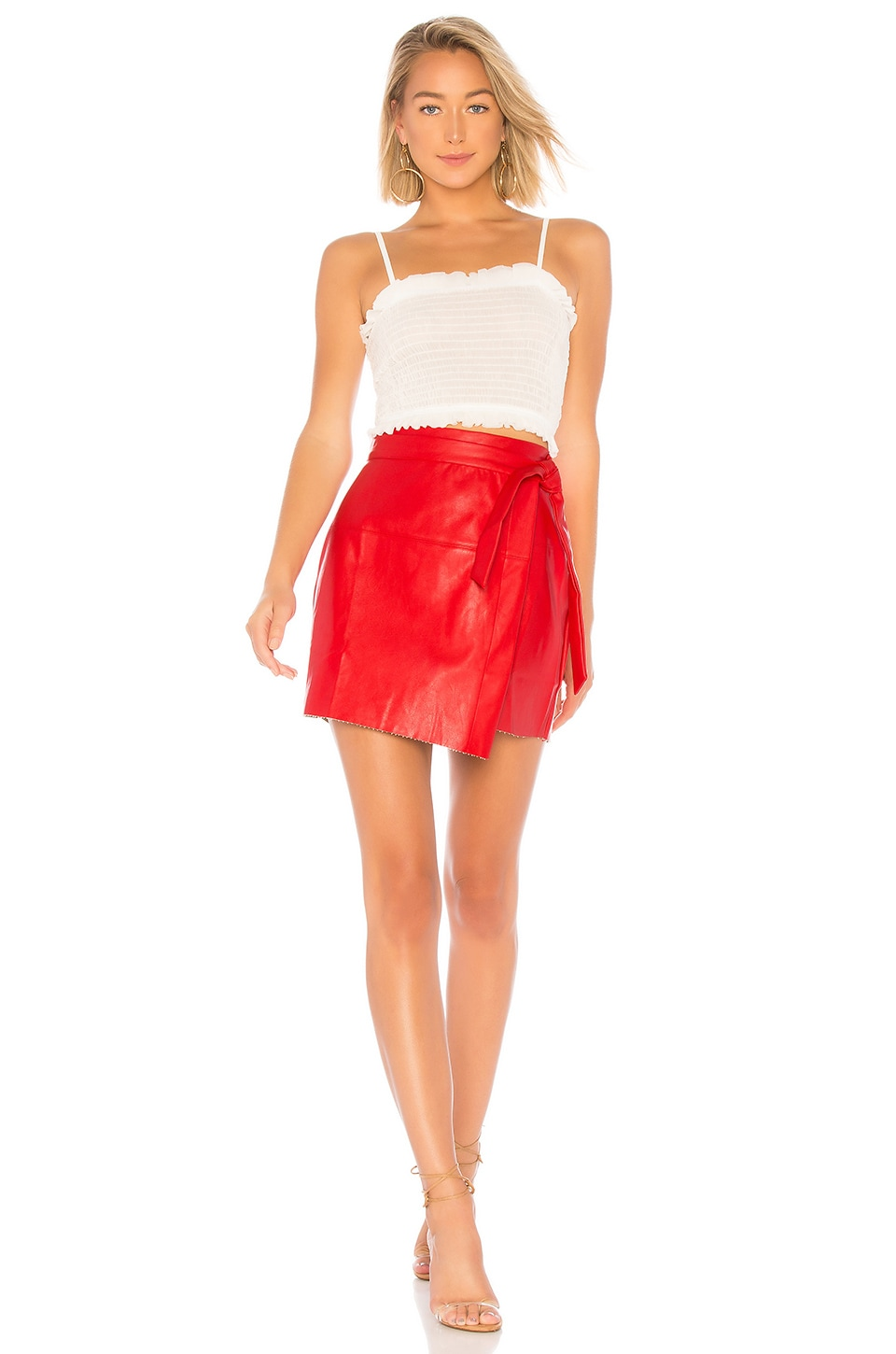 About Us Jazzy Faux Leather Wrap Skirt in Red