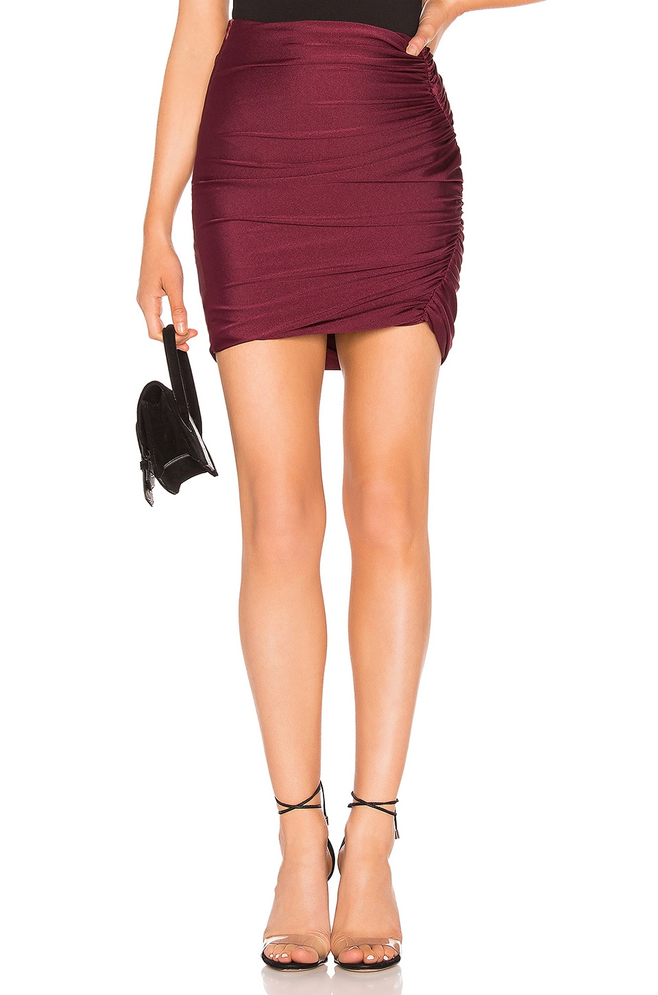 About Us Ava Ruched Mini Skirt in Wine