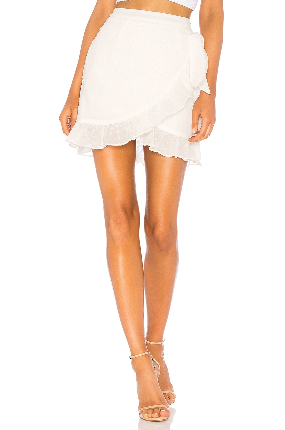 superdown Maddie Ruffle Dot Tie Skirt in White