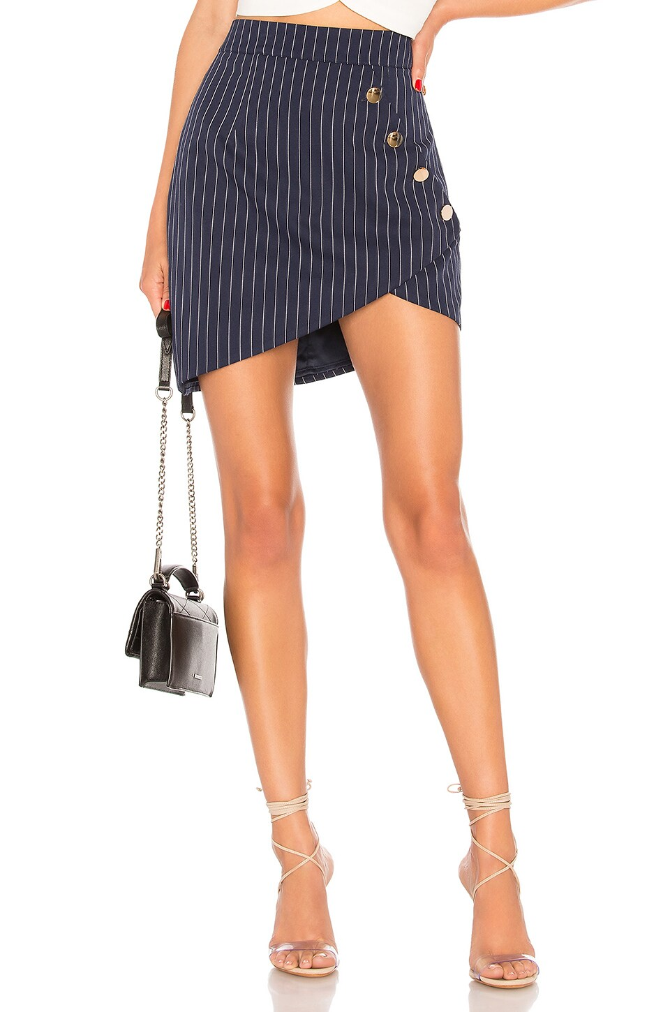 About Us Lexie Button Buckle Skirt in Navy Pinstripe