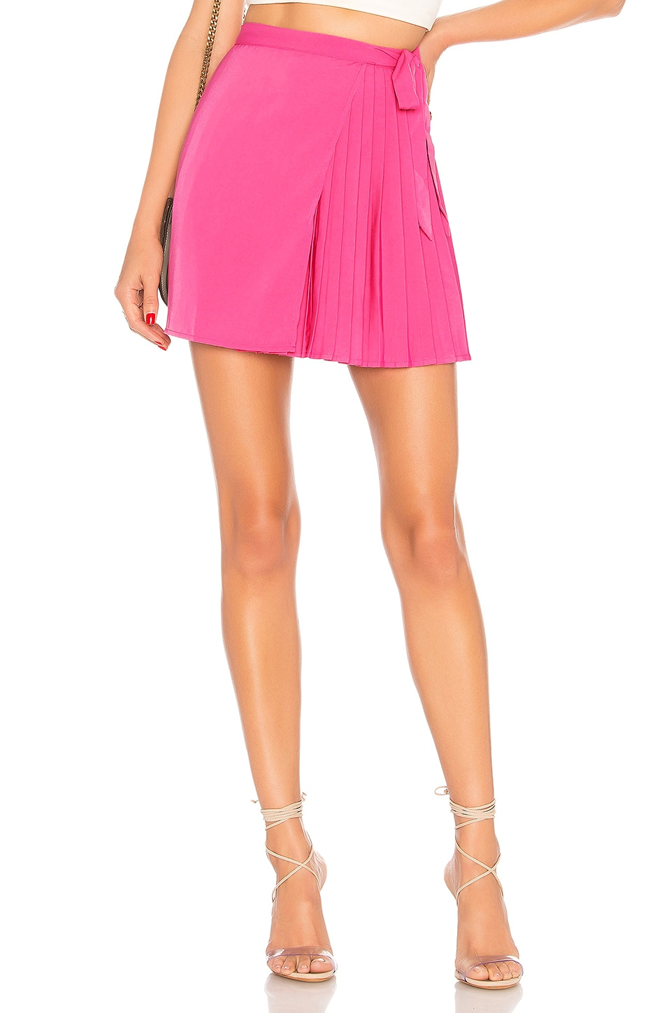 About Us Briana Pleated Wrap Skirt in Pink