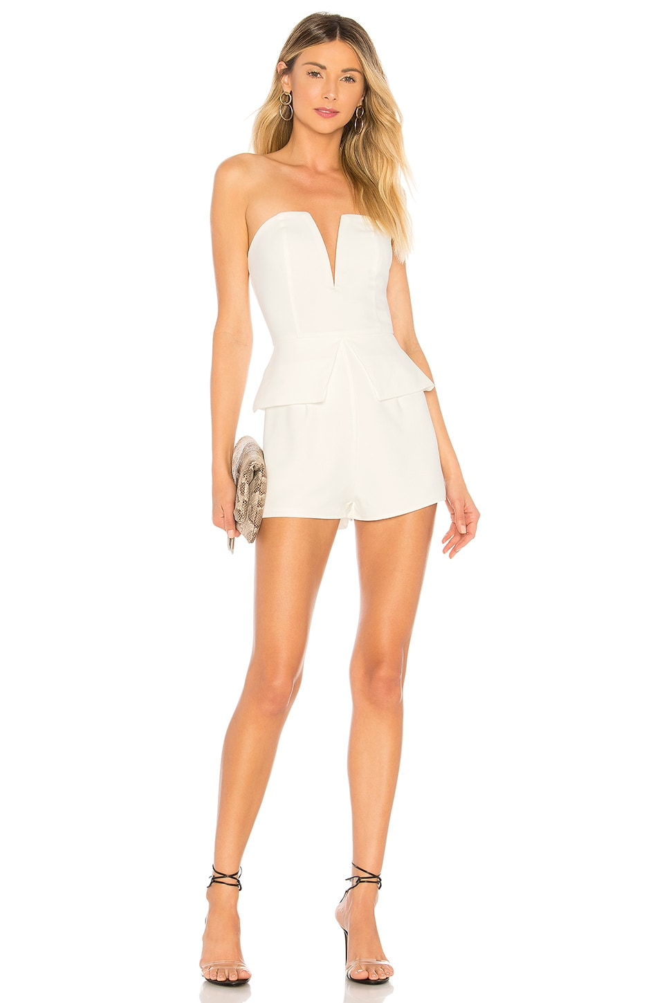 About Us Pepper Strapless Romper in White