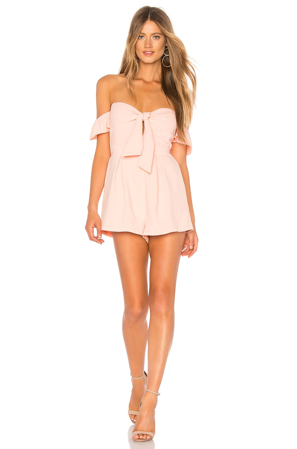 f1316c9b94c9 superdown Dayana Tie Front Off Shoulder Romper in Blush Pink