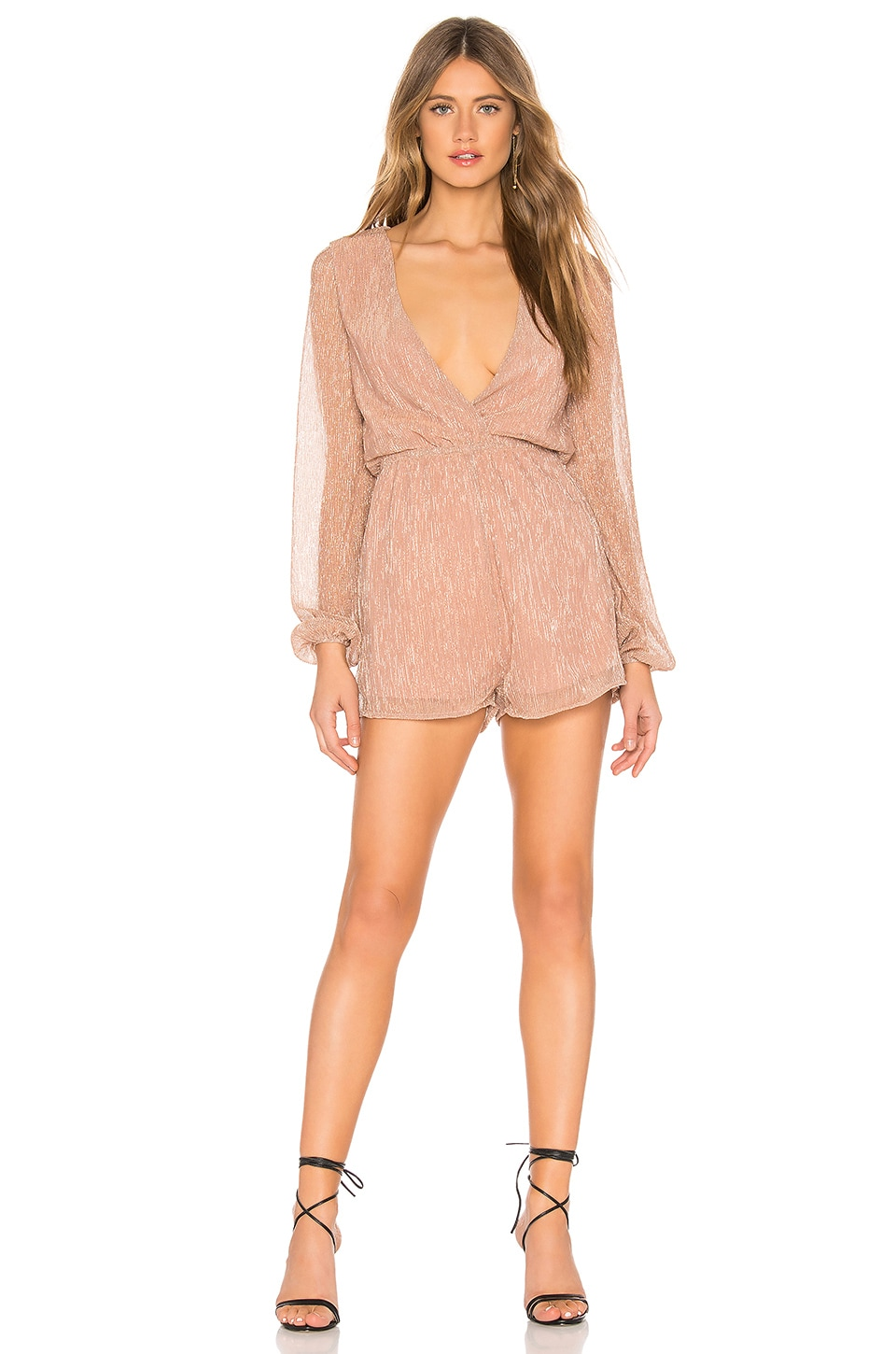 About Us Tia Pleated Romper in Rose Gold