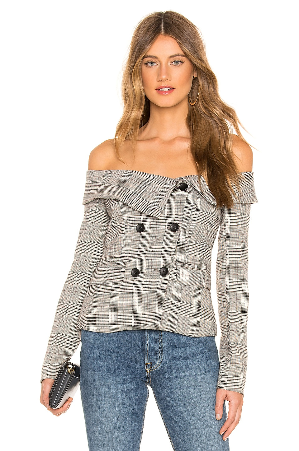 Arlene Blazer Top in Grey