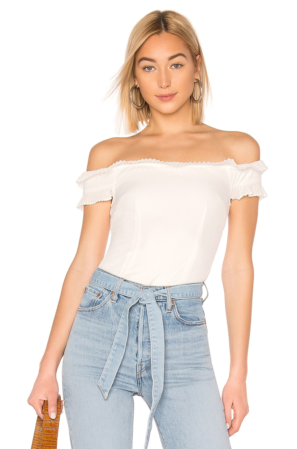 About Us Caitlyn Strapless Frill Top in White