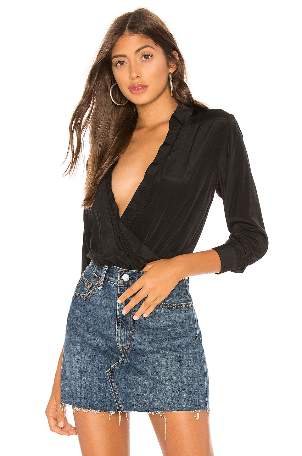 About Us Presely Surplice Bodysuit in Black